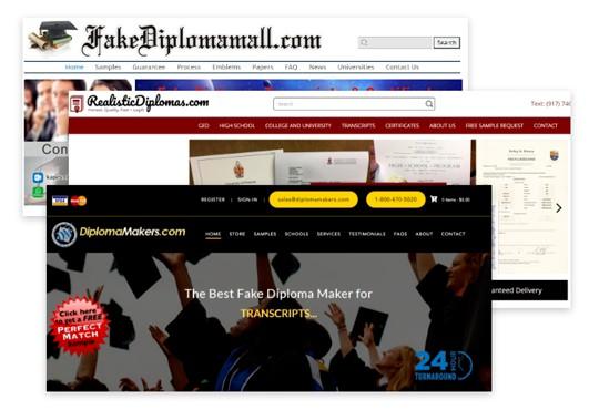 Fake diplomas websites