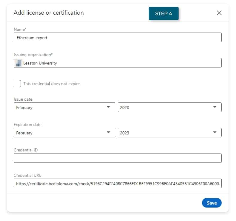 fill out the corresponding fields to add your certifications to your LinkedIn profile