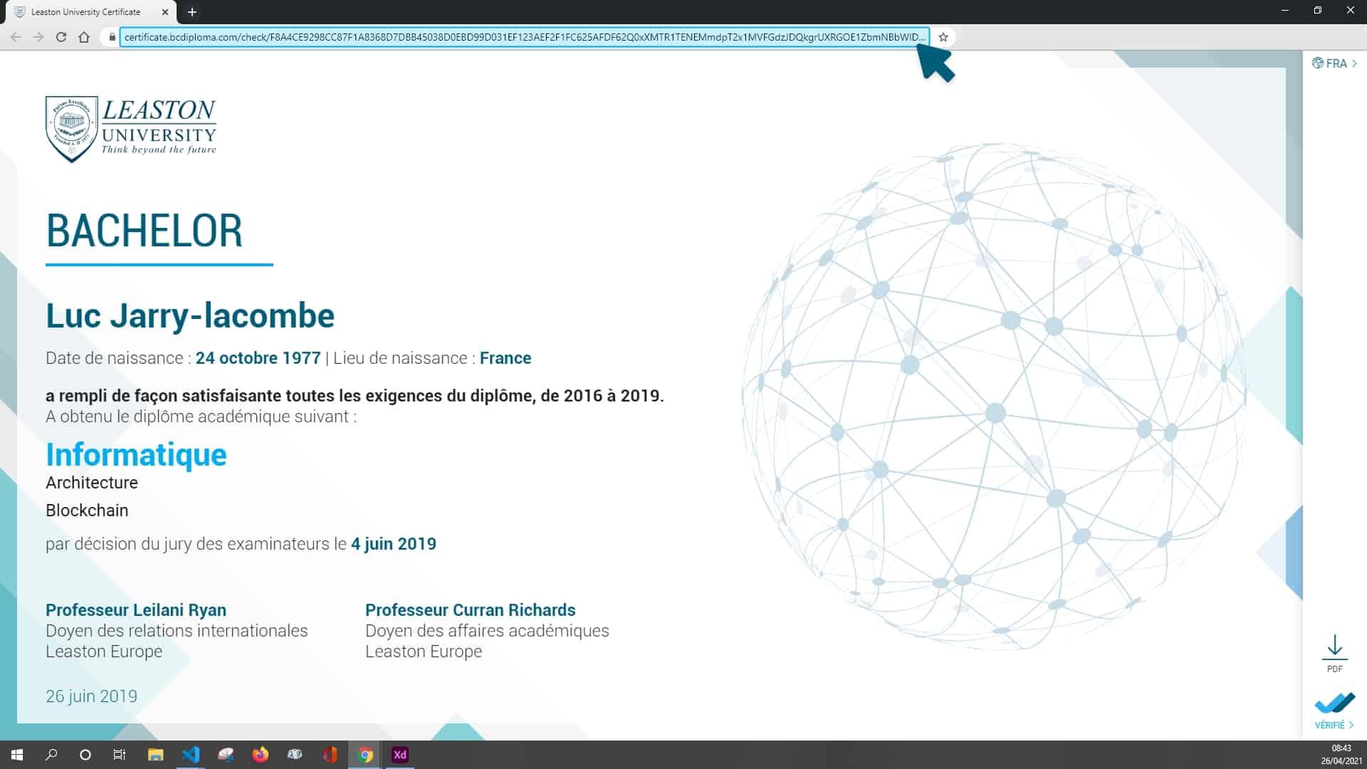 Lien à récupérer du certificat BCdiploma dans la barre d'URL
