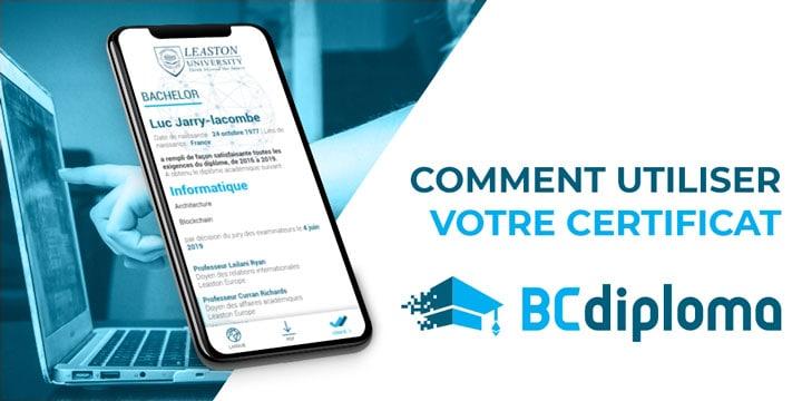 Comment utiliser votre certificat BCdiploma ?