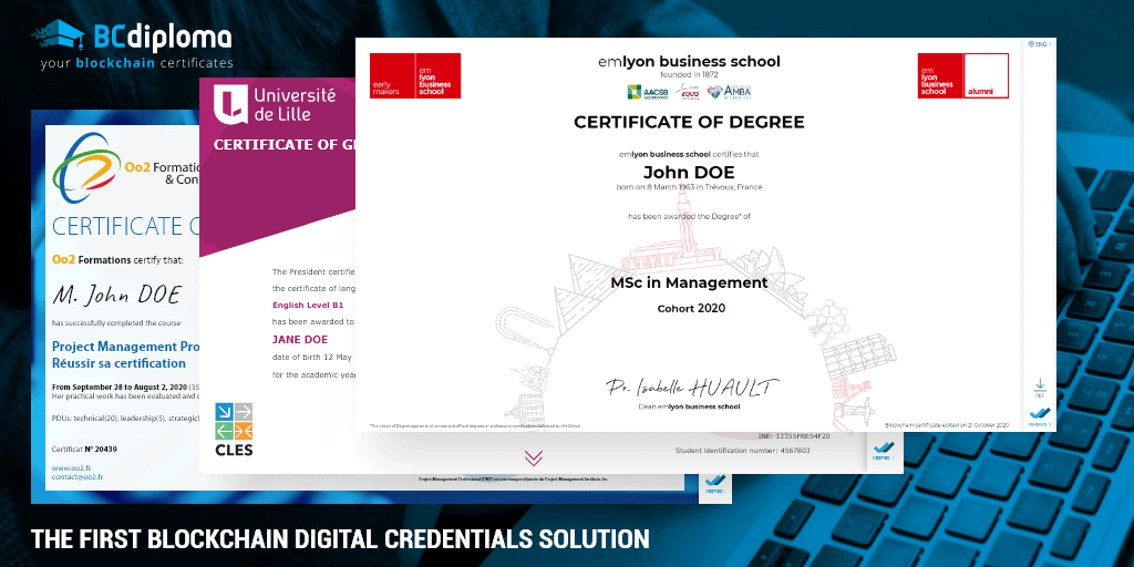digital credentials examples made by BCdiploma