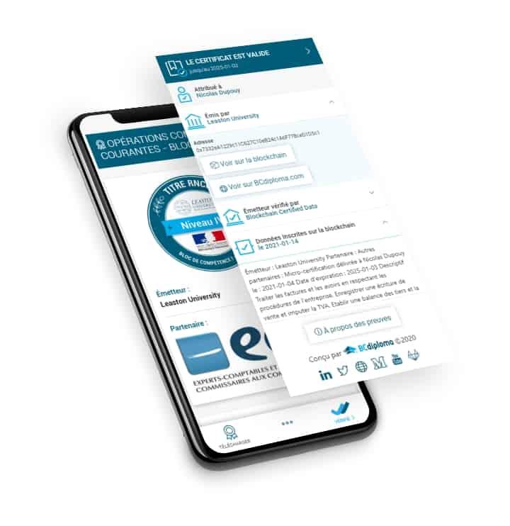 Exemple de bloc de compétences sur mobile