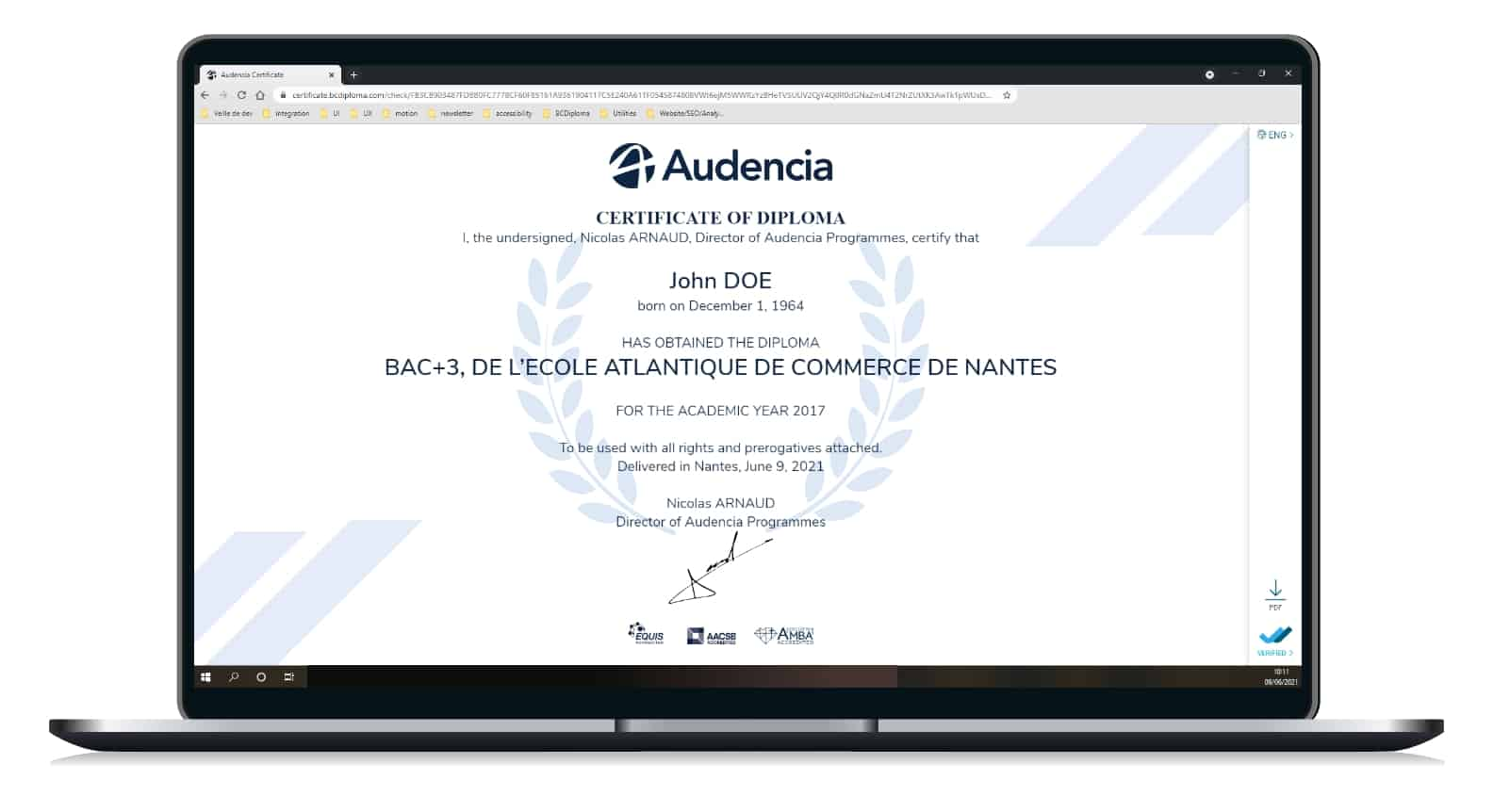 Sample of the digital credential Audencia made by BCdiploma