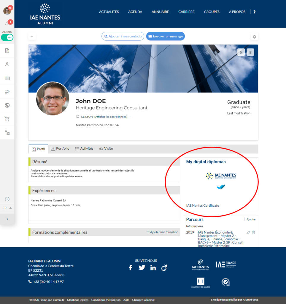 IAE Nantes alumni platform screen shot